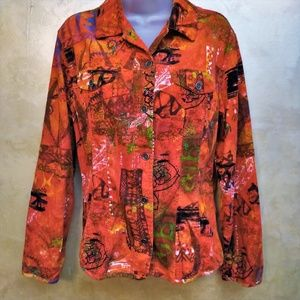 Bright Cordoroy Light Jacket by Chico's Like New M